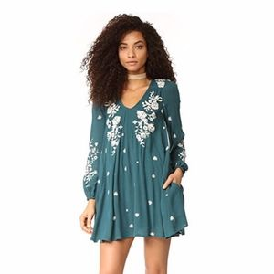 Free People Teal Embroidered Mini Dress or Tunic